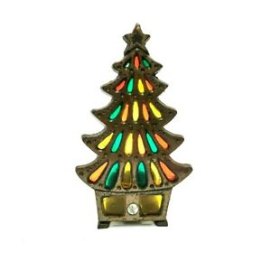 💲 VINTAGE CAST IRON STAINED GLASS TEA LIGHT CANDLE HOLDER CHRISTMAS TREE SHAPED