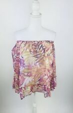 Lucky Brand NEW Off Shoulder Size Large Palm Tree Print Blouse Bell Sleeves $89