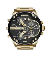 New Diesel Mr. Daddy 2.0 Black Gold Chronograph 4 Time Zone Men's Watch DZ7333