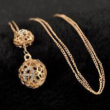 Doppel Glück Hohlkugeln Anhänger  mit Strass  und Pullover Halskette. Gold