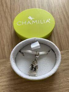 100% Genuine Chamilia Silver Disney Beauty & The Beast Cogsworth charm bead