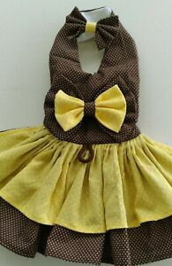 Dog Dress/Harness  BROWN AND YELLOW  WITH MATCHING HAIRBOW  NEW  FREE SHIPPING