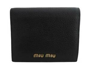 Auth MIU MIU Logo Short Bifold Wallet Black/Pink Leather/Goldtone - e48018f