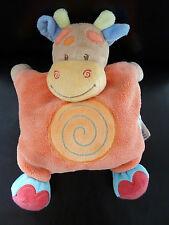 *- DOUDOU COUSSIN VACHE GIRAFE NATTOU orange motif spirale grelot - ETAT NEUF*