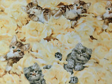 Elizabeth Studio's Fabrics by the 1/2 yard Yellow Kittens Print