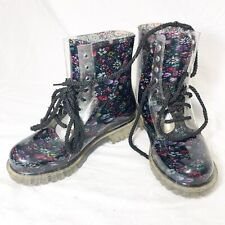 Dirty Laundry Rain Boots Floral Rubber Multicolored Boots Women's 7 Lace up dais