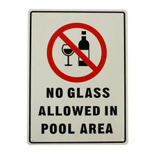 2x Warning Notice No Glass Allowed in Pool Area Sign 225x300mm Metal Swim Safety