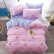 PINK PURPLE CACTUS KIDS Duvet Cover Bedding Set (Pillowcases + Flat Sheet)- TWIN
