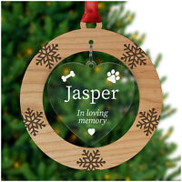 Personalised Pet Dog Remembrance Memorial Christmas Decoration Bauble Gifts