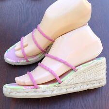 LILLY PULITZER Size 8 Tropical Green Pink Rope Wrap Wedge Sandals High EUC Cute