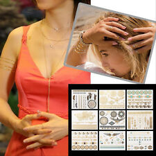 9 Sheets Temporary Disposable Metallic Tattoo Gold Silver Black Flash Tattoos FO