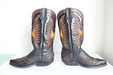 Sancho Western Cowboy High Boots Stiefel Voll Echtleder Braun-Schwarz Eu:38