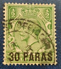 Great Britain Offices In Turkey Scott 55 Used Fine - 1912 30 para on 1/2p Green