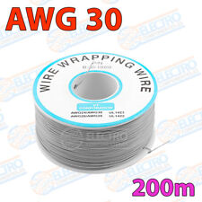Bobina AWG30 - GRIS - 200m Cable Hilo WRAPPING electronica soldar