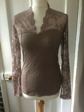 NEXT SIZE 12 PRETTY BROWN LACY SLEEVE POLYESTER LONG SLEEVE TOP