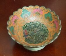 """ANTIQUE COMPOTE BRASS HAND PAINTED BOWL PEACOCK4.5"""" W x 2""""H ORANGE SCALLOPED RIM"""