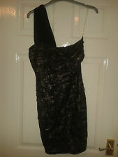 Womens One Shoulder Dress - Lipsy London - Metallic Animal - Silver - Size 8 UK