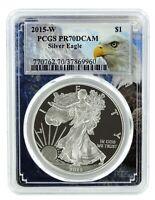 2015 W 1oz Silver Eagle Proof PCGS PR70 DCAM - Eagle Frame