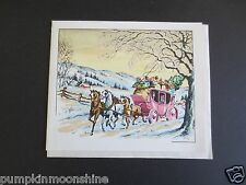 Vintage Unused Xmas Greeting Card Glitter Pink Horse Drawn Carraige