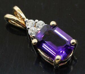 14K gold beautiful 2.15CTW diamond/9 X 6.9mm Emerald cut amethyst pendant