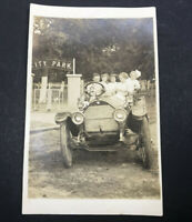 Antique Postcard First Car City Park Real Photo Post Card RPPC 1900's