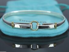 $900 Tiffany Sterling Silver 18K Yellow Gold Hook & Eye Circle Bangle Bracelet