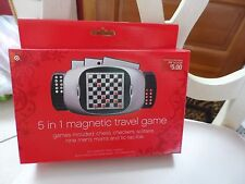 5 in 1 magnetic travel game - chess, checkers, solitaire, tic-tac-toe and more