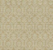 Wallpaper Designer Silver Metallic Damask on Tan & Brown Faux Crackle