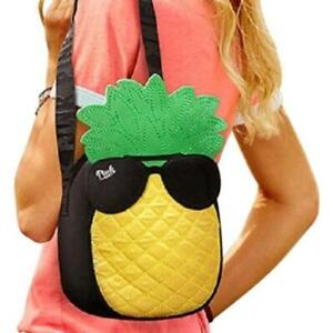 VS PINK Pineapple Cooler Lunch Bag Insulated Yellow Green Adjustable Strap Zip