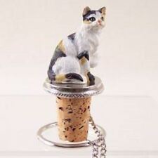 Calico Cat kitty Cork Wine Bottle Stopper resin Hand Painted Figurine Topper Top
