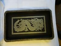 2 x Antique Chinese Black Lacquer Trays with Dragons