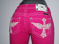 Miss Me Womens Juniors 25 Pink Jeans Capris Shorts Stretch Cross Wing 25 X 21