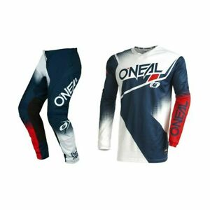 ONeal Element Racewear 2022 Motocross Suit Blue/Red MX Off Road Jersey Pants Kit