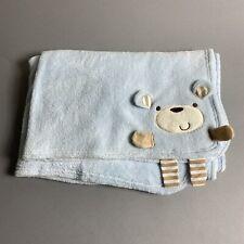 Babies R Us Light Blue Brown 3D Teddy Bear Baby Blanket