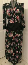 Vintage 1940s rayon dress, huge shoulders, pink, white lavender flowers B38