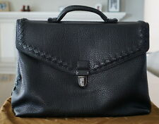Authentic Bottega Veneta $3000.00 Retail Mens' Black Leather Briefcase ~MUST SEE