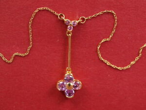 """18ct yellow gold Pink Sapphire lavaliere pendant chain necklace 3.0gram 18"""" long"""