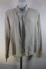 Eileen Fisher Silk Open Shirt Long Sleeves Sz Medium Cream C10