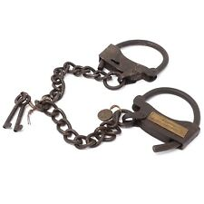 Alcatraz Prison Handcuffs, Iron Adjustable Cuffs with Chain & Antique Finish