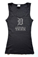 Detroit Tigers Womens Black Tank Top Size S Rhinestone Always A Tiger NWOT