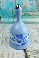 """Vintage Porcelain White & Blue w/Country Home Scene Figurine Bell 3"""" Tall"""