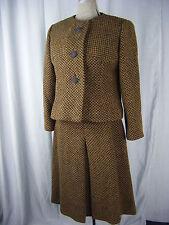 B.H.Wragge/Montaldo's Vtg 60s Brown/Black Jacket & Skirt-Bust 38/Waist 27/XS-S