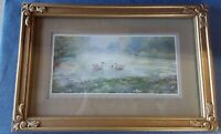 "Very Pretty Ornate Gold Rectangle Frame w/ Glass 15"" x 10"" Includes Swan Print"