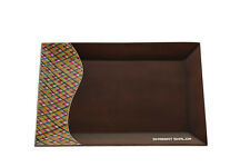 Reed Sea, Brown Wood Rectangle Tray, With Colorful Straws, Made in Colombia *