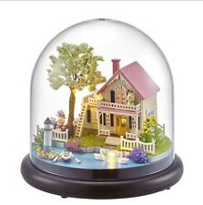 Cute Glass Wood Model Kits Dollhouse Miniature DIY House Handcraft Gift + Light