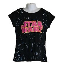 Youth Girls Star Wars Black Short Sleeve Graphic Shirt Top Size L (10-12)