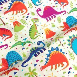 Cream dinosaur volcano Jurassic Bright Kids Mask 100% Cotton Fabric X HALF METRE