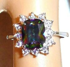 MYSTIC FIRE TOPAZ RAINBOW AMETHYST ACCENTS .925 STERLING SILVER RING SIZE 7