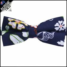 Dark Blue with Spring Flowers Pattern Bow Tie