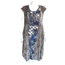 PRIVATSACHEN Crinkle Velvet Gray Blue Lagenlook Sleeveless Oversized Dress OS
